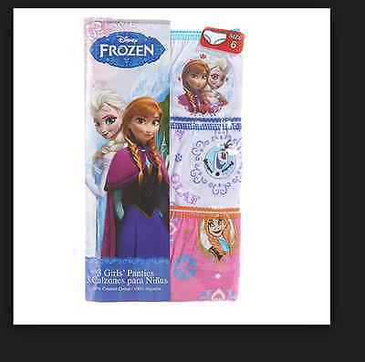 New Disney Girls Frozen Anna Elsa Underwear Panties Set Of 3 Pairs Size 4