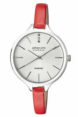 Johan Eric Women's JE2100-09-004 Herlev Slim Diamonds Red Leather Wristwatch