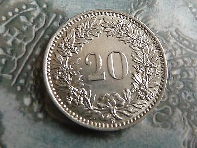 switzerland 1909 20 rappen coin mint with lustre