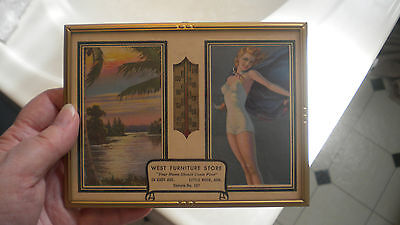 Vintage BATHING SUIT BEAUTY 1947 Adv. Thermometer Calendar WEST FURNITURE STORE
