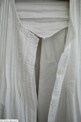 Antique French FULL ribbed long PLEATED NIGHTGOWN transparency c 1900 long size