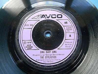 """The Stylistics Sing Baby Sing / Thank You Baby 7"""" Single Uk Ex"""