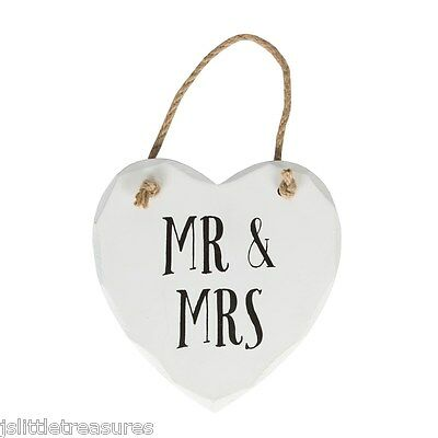 Distressed Vintage White Wooden Hanging Mr & Mrs Heart Sign Plaque