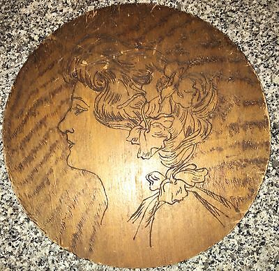 Beautiful OLD ORIGINAL ART NOUVEAU LADY WALL PLAQUE Carved Wooden