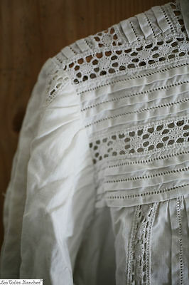 Antique TORN woman VICTORIAN CUT camisole BLOUSE LACE c 1880