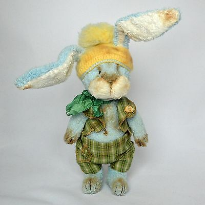 OOAK artist handmade teddy bunny in vintage clothes, artist rabbit, 9 ½in.