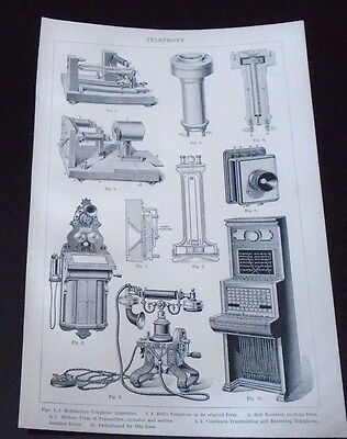 Old Print Telephone Bell's Switchboard Transmitting Ect