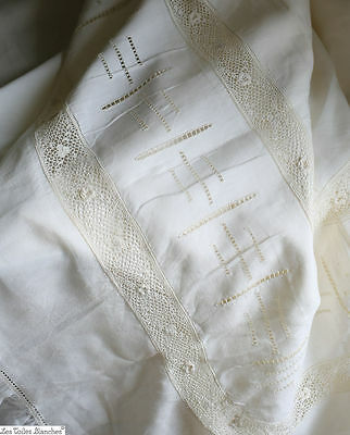 Antique French LACE large DOWRY sheet PURE LINEN FIL monogram c 1930