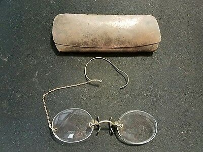"Antique ""Double C"" Glasses with Chain and Case"