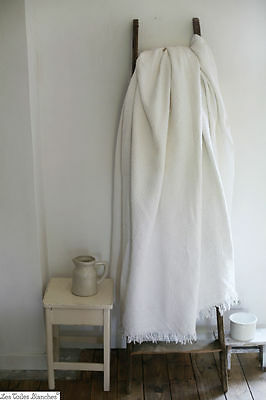 Vintage french white QUILTED coton PIQUE bedcover with fringes c 1930