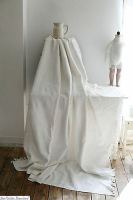 Vintage french white QUILTED cotton PIQUE bedcover with fringes c 1930
