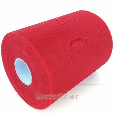 "6""X100YDS Red Tulle Roll Spool Tutu Cloth Craft Gift Bow Wrap Wedding Decoration"