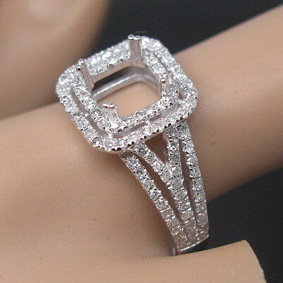 Hold Princess Cut 6.0mm Solid 14K White Gold Natural Diamond Semi Mount Ring