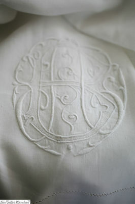 Antique French DOWRY pure LINEN FIL sheet AB monogram c 1900