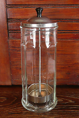 Old Vintage Heavy Paneled Glass Straw Holder Dispenser Soda Fountain Collectible