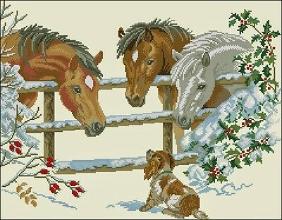 Horses with Puppy - Cross Stitch Chart - Free Postage