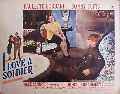 """Paramount's """"I Love A Soldier"""" (1944) Lobby Card - Paulette Goddard, Sonny Tufts"""
