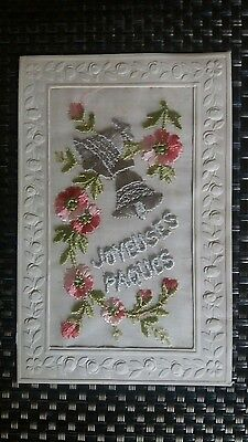 """Ww1 Era Embroidered Silk Postcard """" Joyeuses Paques """" Excellent Condition"""