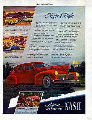 1940 Nash Car Ad ---Night Flight -----v509