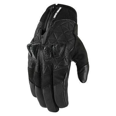 2017 Icon 1000 Mens Black Akromont Motorcycle Riding Gloves - Choose Size