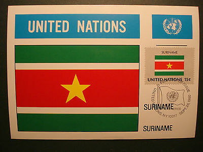 "UNO United Nations 1980:Maximumkarte MK maximum card ""Flaggen""-SURINAME"