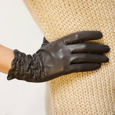 Womens Genuine Nappa Sheepskin Leather Lined Gloves More Colors On Sale #L054