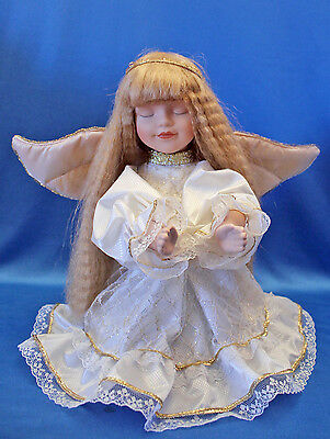 Gorgeous KNEELING ANGEL GIRL DOLL porcelain head, hands, legs LONG CRIMPED HAIR