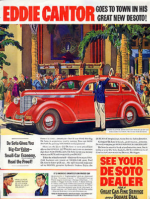 1938 Desoto car ad Eddie Cantor Famous Radio and movie star --p-833