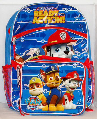Paw Patrol Boys' Nickelodeon Blue 16 Inch Backpack with Detachable Lunch Bag