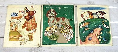 Vintage Playskool Board Puzzles Lot of 3 Cardboard Framed Toys Puppies Dogs