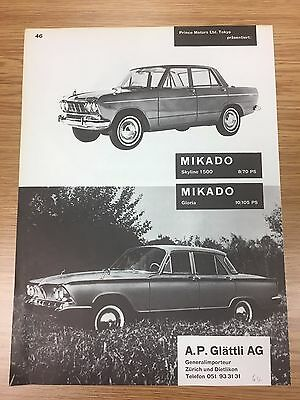 VERY RARE 1964 MIKADO Skyline / Gloria Vintage A4 B&W Car Advert AP Glattli AG