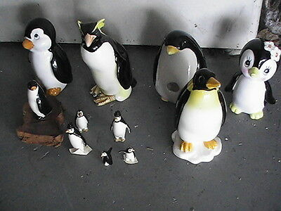 "Lot of 10 Vintage Penguin Figurines 4"" and 1.5"" b1"