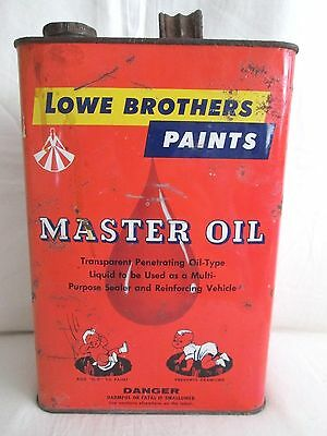 Vintage Lowe Brothers Paints MASTER OIL Can Advertising Paint Baby Graphics