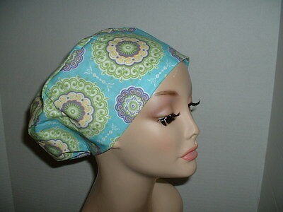 Kaleidoscope Medallions Blue Lavender Green OR European Scrub Hat CNOR MD
