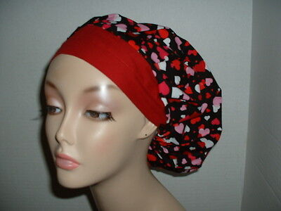 Valentine Hearts Red Pink Black OR Bouffant Scrub Hat CNOR CORT CRNA