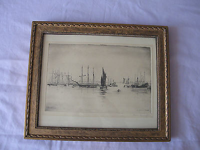 Original Drypoint Etching Print of Old Harbour Torquay by James Macintyre Signed