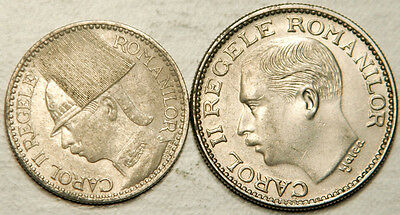 Romania Lot Of 2 (Two) Coins: 50 Lei 1937 + 100 Lei 1936 (High Grades!)