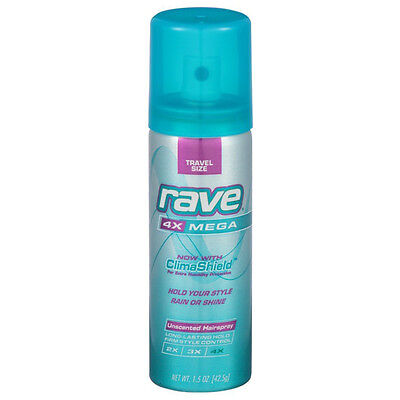 Rave 4X Mega ClimaShield Hold Style Hairspray Unscented Firm Travel Size 1.5oz