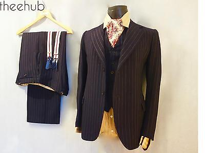 1940s Vtg CC41 Montague Burton 3 Piece Suit Pinstripe Blue Contoured Fly Button