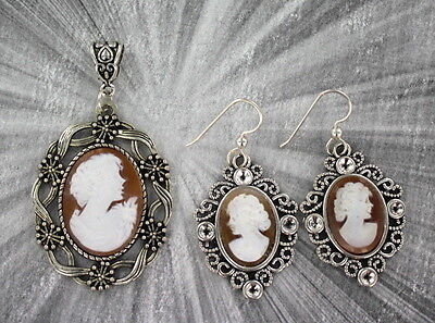 Vintage Shell Cameo Earrings And Pendant Carved In Italy