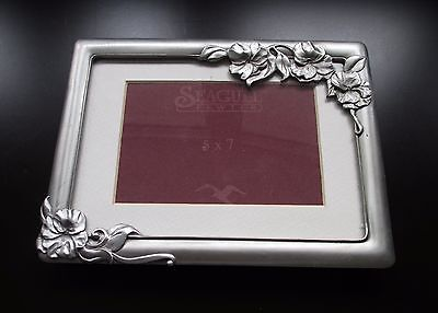 Seagull Pewter Picture Frame 5 x 7 Table Top Flowers Signed Vintage 1994 Canada