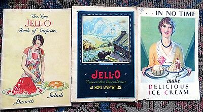 3 Jell-O Recipe Booklets- Desserts Salads At Home Everywhere & Ice Cream Powder