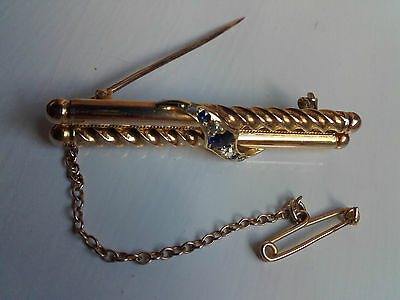 15ct Yellow Gold, Sapphire and Diamond, Double Bar Brooch