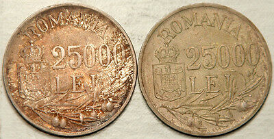 Romania Lot Of 2 (Two) Silver 25,000 Lei 1946 (Deeply Toned Au-Unc!)
