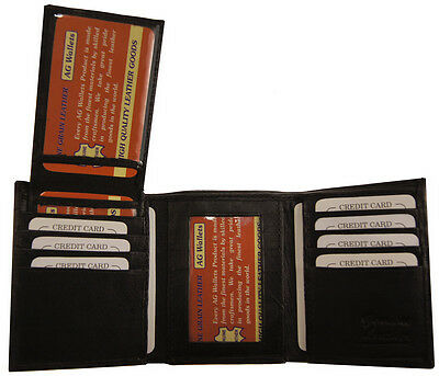 Mens Trifold Leather Multi Credit Card Slots Removable ID Wallet Black 1222