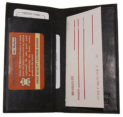 Checkbook Cover: Genuine Leather, Very Slim, Bill Compartment, Plain Black