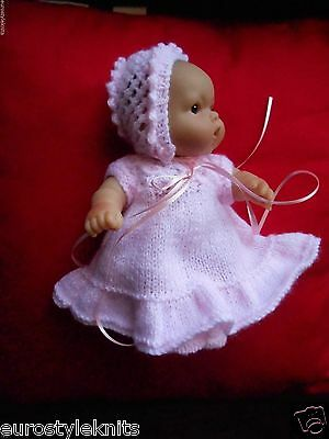 "Doll Clothes Pink Hand-knitted dress set fit  Berenguer 7""-8"" Heidi Ott 8in"