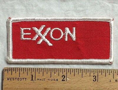 EXXON Mobil Gas Oil Red + White Embroidered Patch Badge