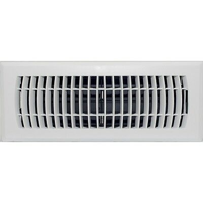 White ABS Louvered Floor Vent Register Cover for Ducted Heating 100x300mm