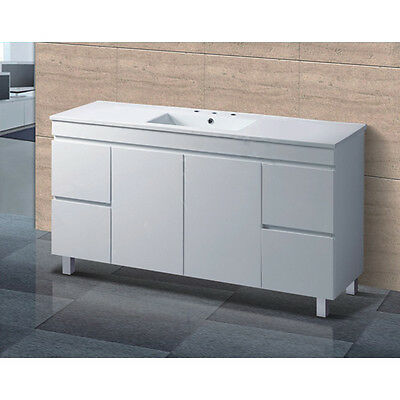 NEW 1500mm Freestanding Single Bowl Ceramic Vanity Basin With Board Cabinet Unit